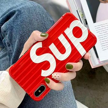 Supreme Tide brand curved luggage iPhone8 mobile phone case red
