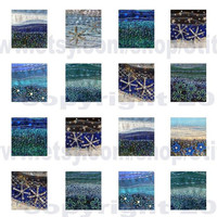 "0.75"" x 0.83"" tiles - Instant Download - digital collage sheet - blue fabric art by Jackie Chadwick"