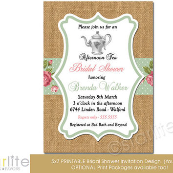 Bridal Shower Invitation - Afternoon Tea - burlap, pink, sage, floral vintage style - Vintage Chic - unique invitation - You Print