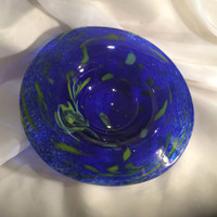 Cobalt Blue Hand Blown Glass Art Plate / Platter.  Glass Wall Art.  Blown Glass Wall Platter.  Swirled Wall Plate.