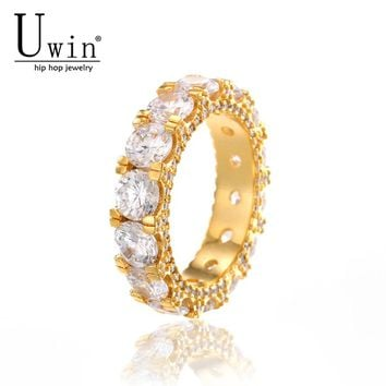 UWIN 1 Row CZ Ring Full Bling Iced Out Wedding Zircon Hollow Luxury Engagement Fashion Jewelry Gift