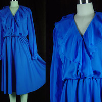 70s Blue Sheer Sleeve Secretary Dress Vintage 1970s Shawl Collar