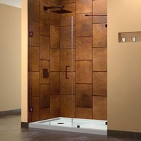DreamLine UnidoorLux 46 in. x 72 in. Frameless Hinged Shower Door in Oil Rubbed Bronze-SHDR-23467210-06 - The Home Depot