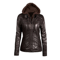 Coffee Faux Leather Hooded Zippered Hoodie Motorcycle Jacket Coat