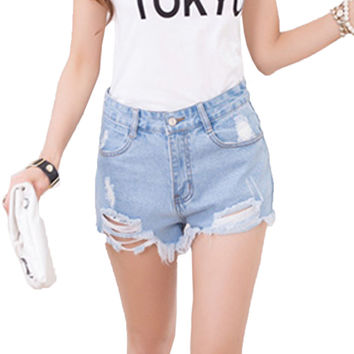 2016 Summer Sexy Fashion All-match Cotton Ripped Hole Female Denim Shorts Women with High Waist Short Jeans Blue White Black