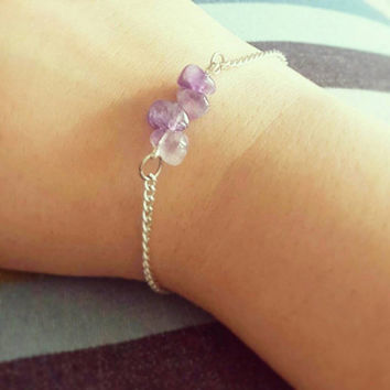 Dainty Three-Stone Bracelet with Purple Natural Amethyst Gemstone on Silver Chain | Bridesmaid Bracelet | Friendship Bracelet