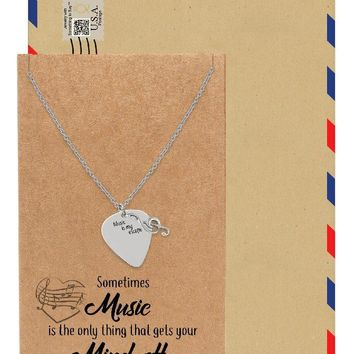 Alena Guitar Pick and Music Note Necklace, Gifts for Music Lovers