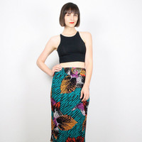 Vintage 80s Skirt Midi Skirt Bright Teal Green Mustard Gold Pink Leaf Print Knee Length Skirt Pencil Skirt High Waisted Boho M Medium L