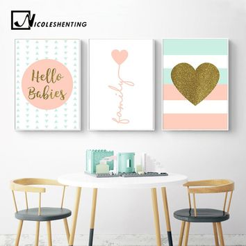 Heart Nursery Prints Family Quote Wall Art Canvas Posters Nordic Style Painting Wall Pictures for Living Room Modern Home Decor