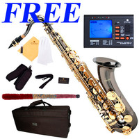 Mendini Bb Tenor Saxophone Sax ~Black Nickel Body Gold Keys +Tuner ~MTS-BNG