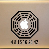 Lost Dharma Initiative with Lost Numbers Vinyl Decal MACBOOK Mac