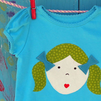 The One with the Green Pigtails Girl's Appliqued by OddEDesigns