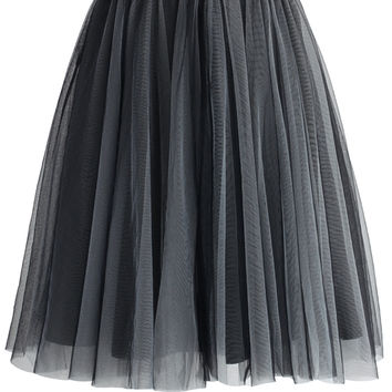 Amore Mesh Tulle Skirt in Smoke Grey S/M