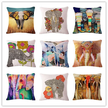 Colorful Elephant Printed Modern Minimalist Linen Cotton Cushion For Sofa Home Decorative Pillow Throw Almofadas Cojines