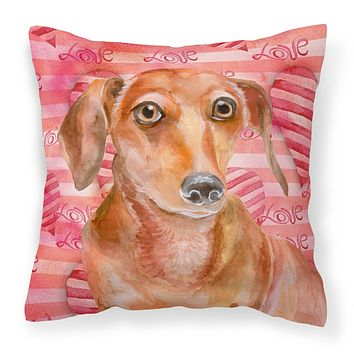 Red Dachshund Love Fabric Decorative Pillow BB9794PW1414