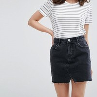 ASOS PETITE Denim Pelmet Skirt in Washed Black at asos.com