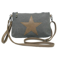 VINTAGE CANVAS BIG STAR SHOULDER BAG - Women New Casual Applique Travel Shopping Crossbody Clutch Handbag Wristlets Bolsos SJ318