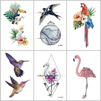 Wyuen Bird Flower Fake Tattoo for Adult Original Flamingo Waterproof Temporary Tatoo Stickers on Body Art Tattoos A-019