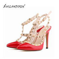 women fashion sexy personality hollow rivets stitching fine with high-heeled shoes Wedding high heels