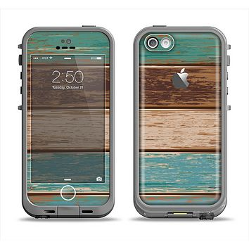 The Wooden Planks with Chipped Green and Brown Paint Apple iPhone 5c LifeProof Fre Case Skin Set