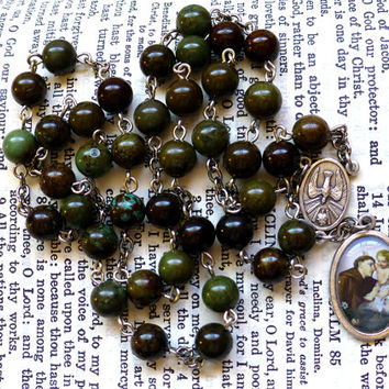 St. Anthony Chaplet - Saint Chaplet, Catholic, Brown Green and Blue Magnesite Gemstone Beads