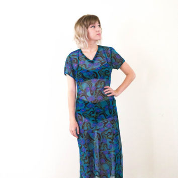 vtg 70s psychedlic sheer tee dress, casual blue green see through, long skirt short sleeve, 1970s 1990s tumblr aesthetic, vaporwave, art hoe