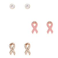 FOREVER 21 Pink Ribbon Stud Set Pink/Gold One