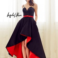 Angela and Alison 72058 High Low Contrast Lining Gown