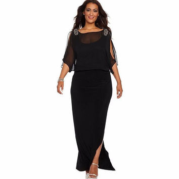 Plus Size Prom Dress Lace See Through Women's Fashion Sexy Split One Piece Dress [8776963591]