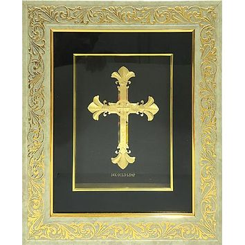 """Gold Leaf Picture in Frames Cross 15""""x13"""""""