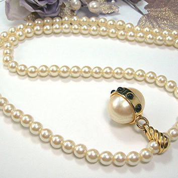 "Richelieu Faux Pearl Necklace, 28"" Long, Ivory Color, Single Strand with Large Pendant, Wedding Jewelry Vintage Costume Jewelry"