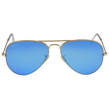 Ray-Ban Aviator Metal Gold Frame Crystal Blue Mirrored Lenses Large Sunglasses