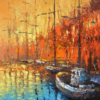 Evening on the pier - contemporary wall art oil palette knife on canvas painting by Dmitry Spiros