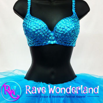 Women's Mermaid Teal Blue Turquoise Bra + Tutu Full Outfit Costume, Rave, Edc, Edm, Festival, Rave Outfit, Mermaid, Sequin Bra, Teal, Tutu