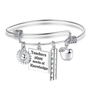 Fashion Teachers Gifts Necklace Keyrings Keychains Love Heart Pendants Charms Silver Plated Jewelry Teachers Necklace