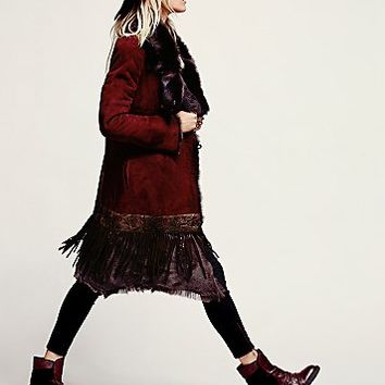 Womens More Than Roses Sheepskin Jacket - Bordeaux