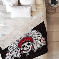 Chobopop Geometric Indian Skull Fleece Throw Blanket
