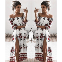 Women Slash Neck Dresses Floral Print Vestidos Spring Summer Beach Sun Slit Loose Lady Dress