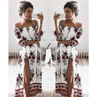 Fashion Sexy Retro Flower Print Off Shoulder Hem Split Middle Sleeve Loose Maxi Dress
