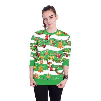 3D Cartoon Gifts Colorful Print Women Christmas Sweatshirt