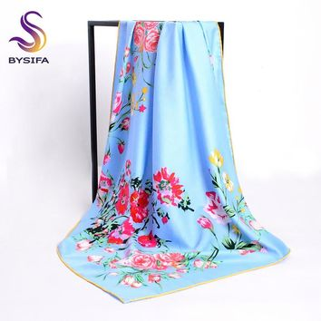 [BYSIFA] Twill Silk Scarf New Brand Ladies Square Scarves Wraps Spring Accessories Light Blue Floral Mulsim Head Scarf Cape