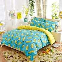 New fashion cartoon bedding sets Watermelon banana fruit bed sheet duvet cover pillowcase soft comfortable king Queen Full size