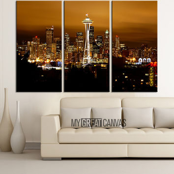 Large Wall Art Seattle Canvas Print - 3 Panel Ready Hang - Gicle - Seattle Night Skyline - Seatle Panorama Canvas Print