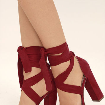 Dorian Dark Red Suede Lace-Up Platform Heels