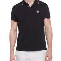 Short-Sleeve Tape-Tipped Polo Shirt, Navy, Size: