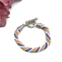 Crochet Bead Bracelet Spiral Rope Blue Pink Yellow White