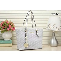 MICHAEL KORS MK Fashionable Women Shopping Bag Leather Handbag Tote Satchel Shoulder Bag White
