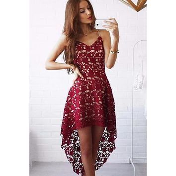 Hollow Out Sexy  Off Shoulder Strap Lace Dress