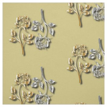 Two Golden And Silver Roses With Shadows Fabric