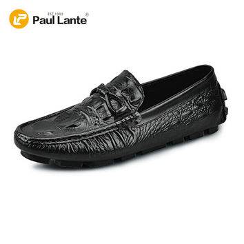 Men's Casual Crocodile Emboss Genuine Leather Boat Shoes Slip-on Penny Loafers Moccasin Fashion Flat Shoe Men's Loafer Shoes New